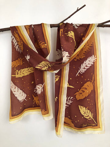 """Feathers on a Breeze"" (Copper) - Hand-dyed Silk Scarf - $110"