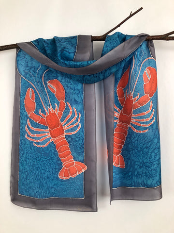 """Love Maine Lobster v1"" - Hand-dyed Silk Scarf - $125"