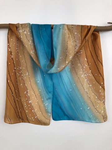 """Surf Zone"" - Hand-dyed Silk Scarf - $95"