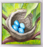 """The Nest"" - Painting on Silk - $385"