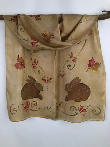 """Autumn Eastern Cottontails"" - Hand-dyed Silk Scarf - $125"