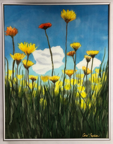 """Wild Flowers"" - Painting on Silk - $475"
