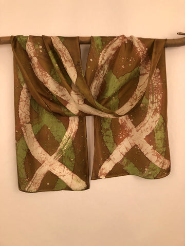 """Double Helix"" - Hand-dyed Silk Scarf - $85"