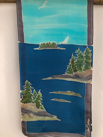 """Maine Coastal Scene v2""- Hand-dyed Silk Wall Hanging  - $110"