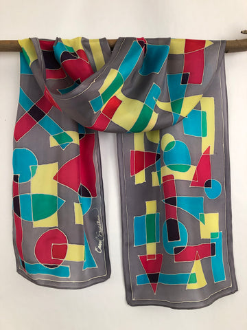 """Cubism on Gray"" - Hand-dyed Silk Scarf - $125"