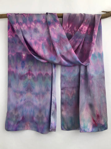 """Aurora Princess"" - Hand-dyed Silk Shawl/Scarf - $135"