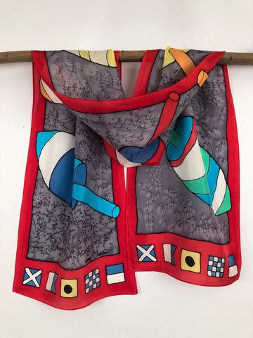 """Lobster Buoys w/ Code Flags"" - Hand-dyed Silk Scarf - $125"