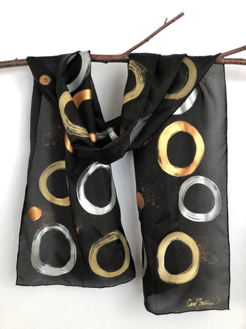"""Zen Circles"" - Silk Scarf/Table Runner - $75"