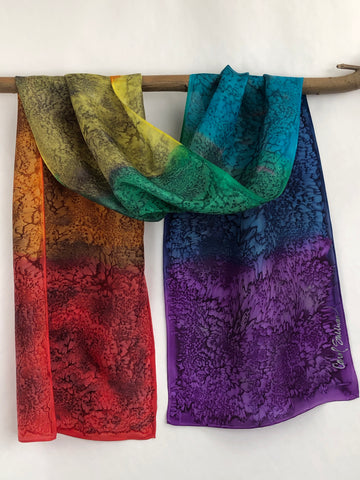 """Mermaid Chakras"" - Hand-dyed Silk Scarf - $95"