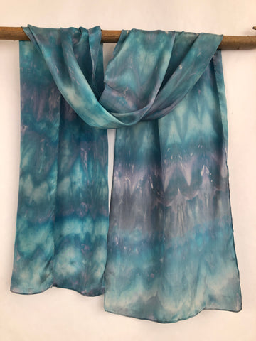 """Snow Queen"" - Hand-dyed Silk Scarf - $90"