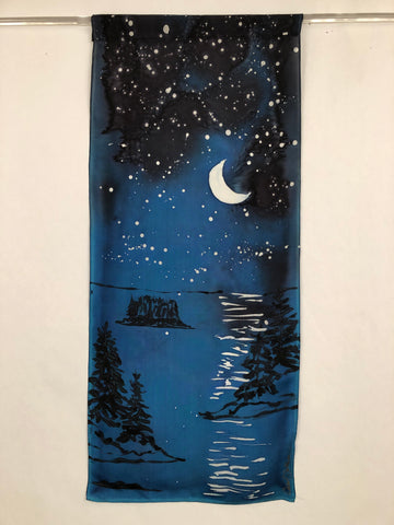 """Evening at the Coast""- Hand-dyed Silk Wall Hanging  - $135"