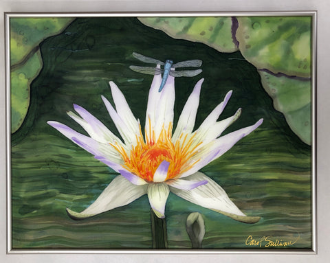 """Water Lily"" - Painting on Silk - SOLD"
