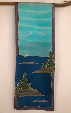 """Maine Coastal Scene v1""- Hand-dyed Silk Wall Hanging  - $135"