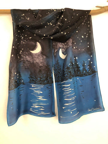 """Evening at the Lake"" - Hand-dyed Silk Scarf - $125"
