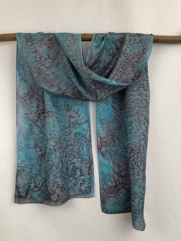 """Snow Storm Mermaid"" - Hand-dyed Silk Scarf - $95"