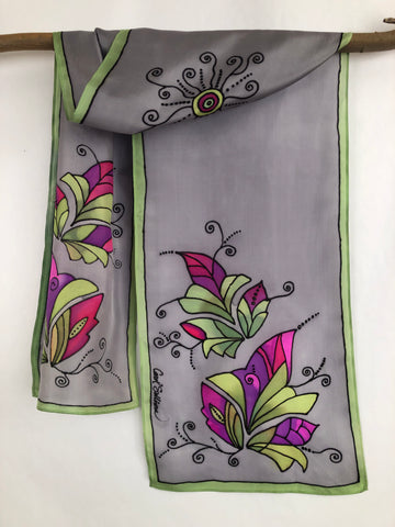 """Tropical Spring"" - Hand-dyed Silk Scarf - $120"