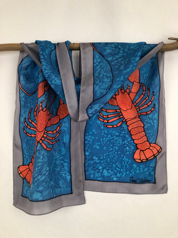 """Love Maine Lobster v2"" - Hand-dyed Silk Scarf - $125"