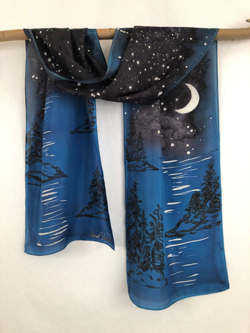"""Evening at the Coast"" - Hand-dyed Silk Scarf - $125"