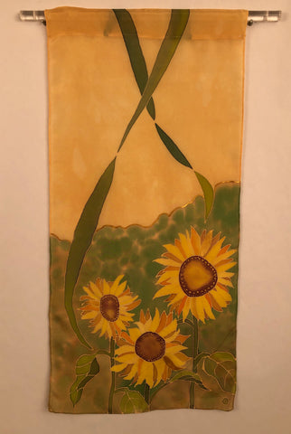 """Summer Sunflowers #1"" - Silk Wall-hanging - SOLD"