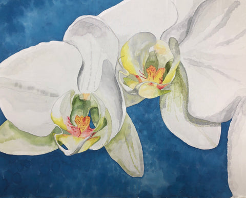 """Megan's Orchids"" - Painting on Silk - $465 SOLD"