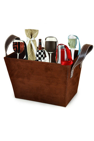 Faux Suede Brown Basket - Free Basket