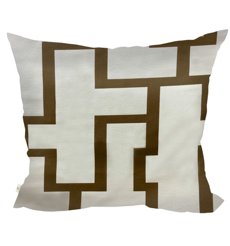 Blocc Decorative Pillow Covers Beige-Brown, Square Set of 2.