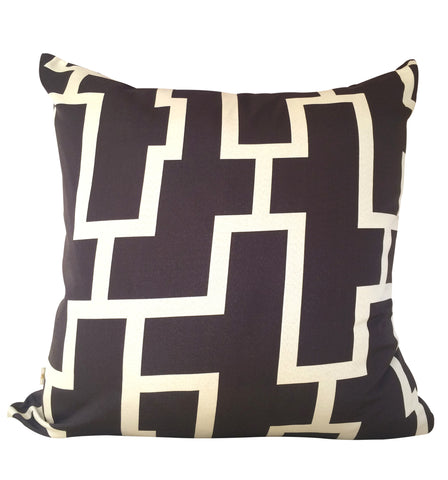 Blocc Decorative Pillow Covers Brown-Beige, Square Set of 2.