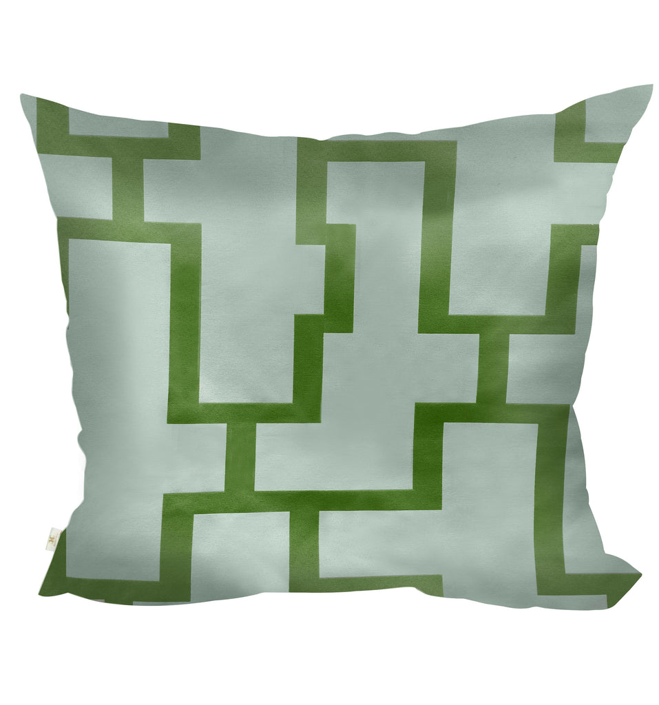 Blocc Decorative Pillow Covers Collection  White-Green, Square Set of 2. - FashionHomeGift