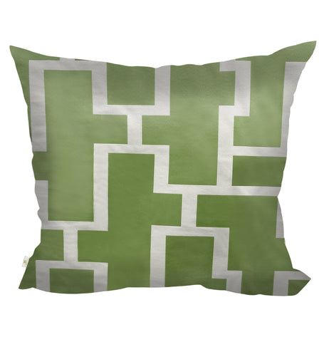 Blocc Decorative Pillow Covers Collection  Green-White, Square Set of 2. - FashionHomeGift