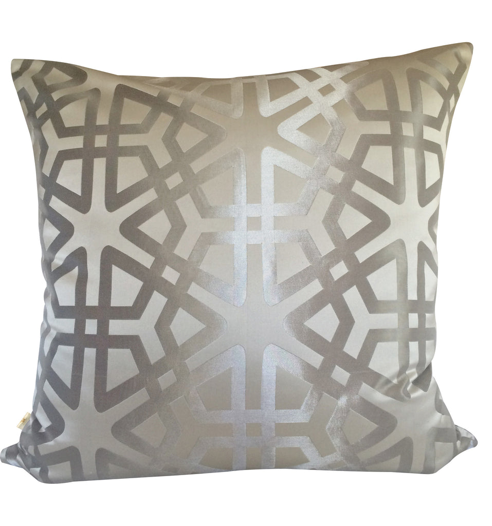 Geom Decorative Pillow Covers Collection Silver, Square Set of 2. - FashionHomeGift