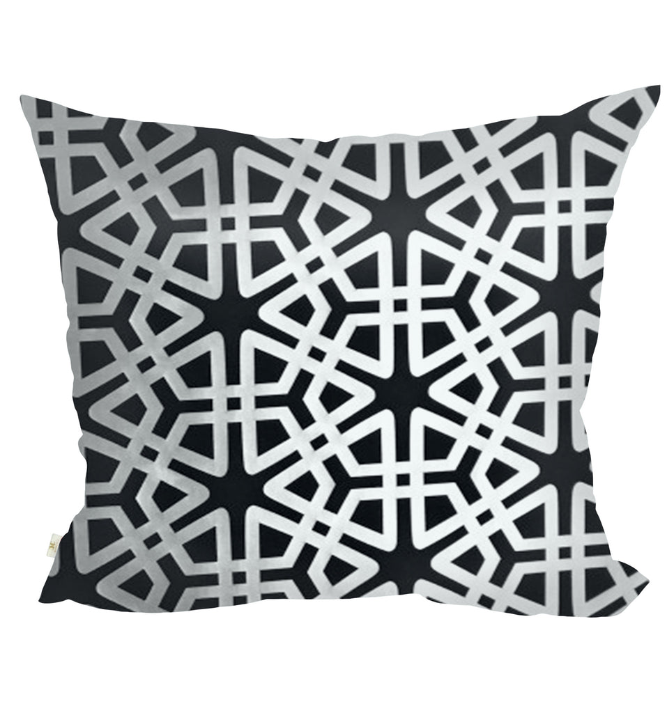 Geom Decorative Pillow Covers Collection Black, Square Set of 2. - FashionHomeGift