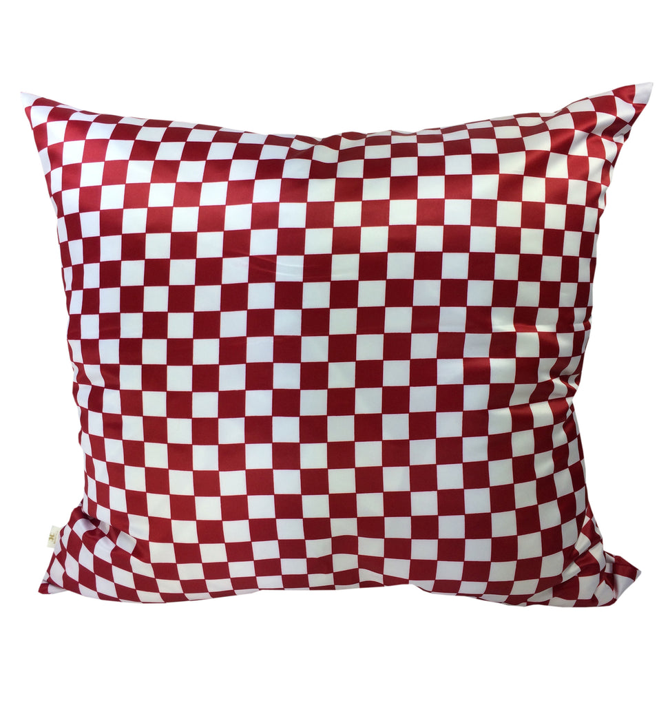 Checkers Decorative Pillow Covers Collection Red-White, Square Set of 2. - FashionHomeGift