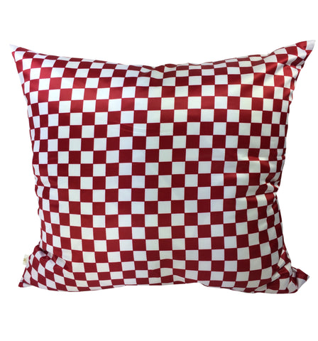 Checkers Decorative Pillow Covers Red-White, Square Set of 2.