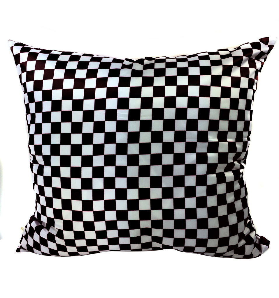 Checkers Decorative Pillow Covers Collection Black-White, Square Set of 2. - FashionHomeGift
