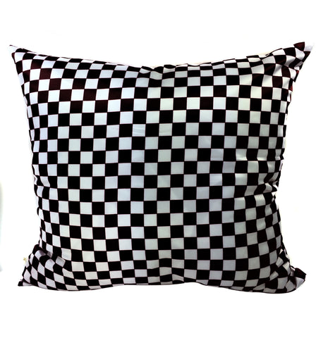 Checkers Decorative Pillow Covers Black-White, Square Set of 2.
