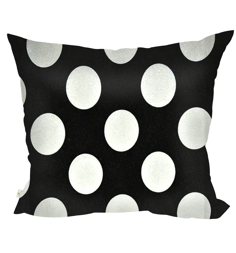 PolkaDots Decorative Pillow Covers Collection Black-White, Square Set of 2. - FashionHomeGift