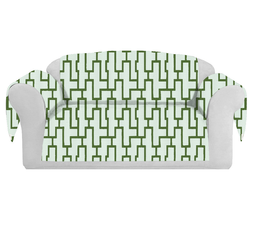 Blocc Decorative Sofa / Couch Covers Collection White-Green. - FashionHomeGift