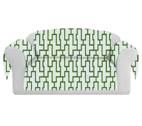 Blocc Decorative Sofa / Couch Covers Collection White-Green.
