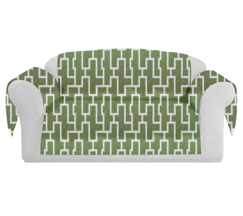 Blocc Decorative Sofa / Couch Covers Collection Green-White.