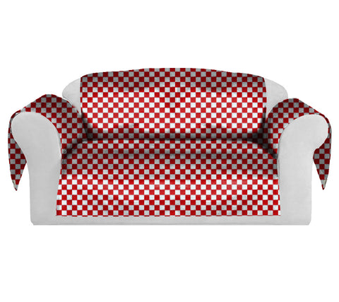 Checkers Decorative Sofa / Couch Covers Collection Red-White.