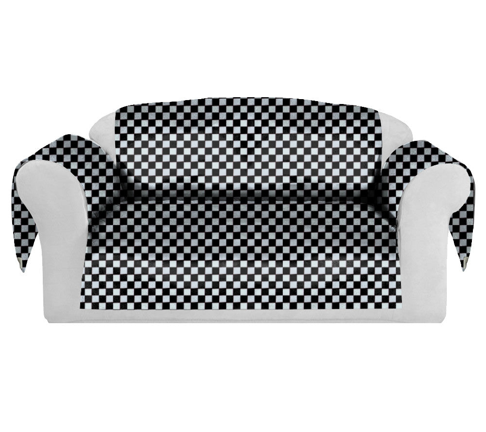 Checkers Decorative Sofa / Couch Covers Collection Black-White. - FashionHomeGift