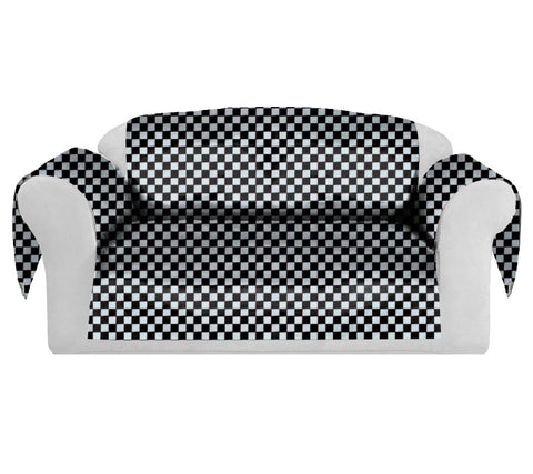 Checkers Decorative Sofa / Couch Covers Collection Black-White.