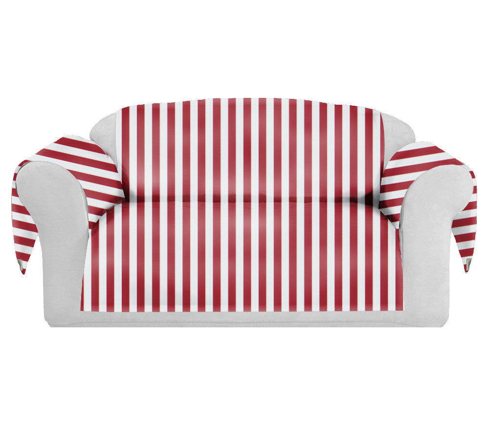 StripSpring Decorative Sofa / Couch Covers Collection Red-White. - CarolineHallak