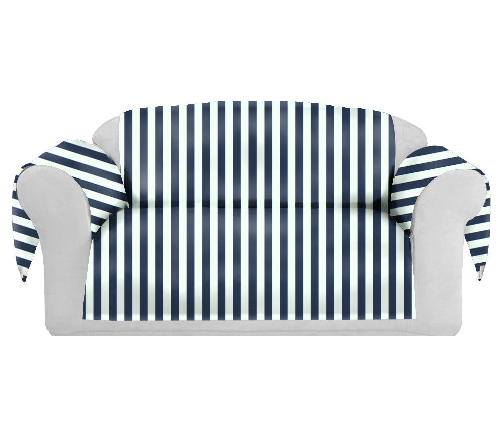 StripSpring Decorative Sofa / Couch Covers Collection Navy-White. - FashionHomeGift