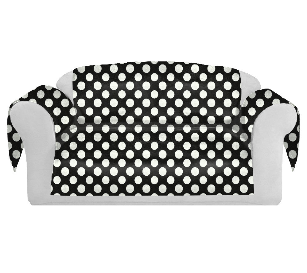 PolkaDots Decorative Sofa / Couch Covers Collection Black-White. - FashionHomeGift