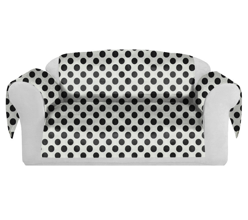 PolkaDots Decorative Sofa / Couch Covers Collection White-Black. - FashionHomeGift