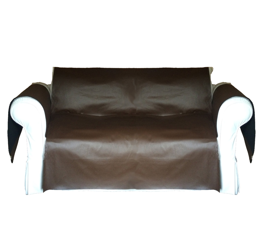 Faux LeatherExotica Decorative Sofa / Couch Covers Collection Chocolate. - FashionHomeGift