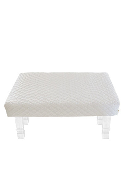 Square White Diamond Pouf Coffee-Table Cover