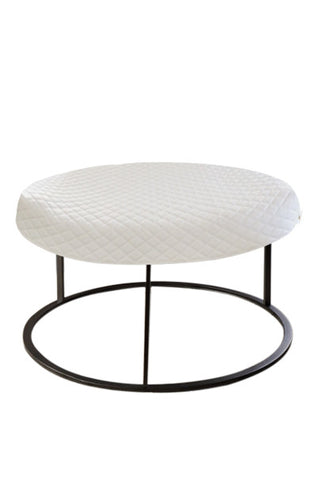 Round White Diamond Pouf Coffee-Table Cover