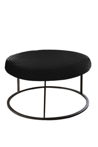 Round Black Diamond Pouf Coffee-Table Cover